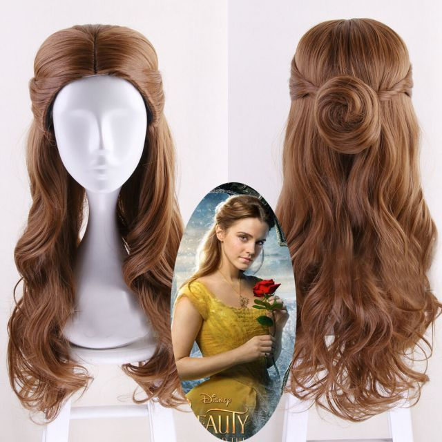 details about beauty and the beast princess belle brown long wavy cosplay party wig hair