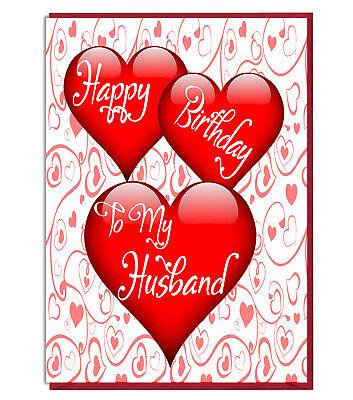 Cute Love Heart Birthday Greeting Card Happy Birthday To My Husband Ebay