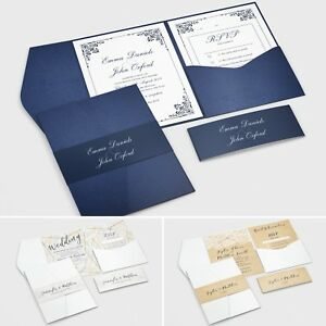 Details About Pocketfold Wedding Invitations With Rsvp And Info Cards Free Envelopes