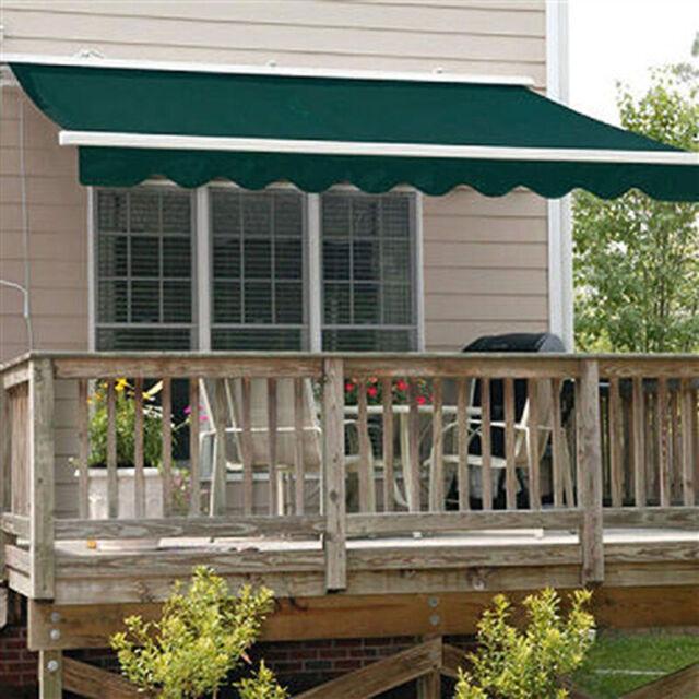 aleko awm16x10green39 retractable motorized patio awning 16 x 10 feet green