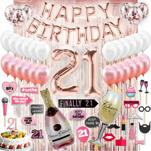 Home Kitchen Banners Garlands Sweet 21 Birthday Party Decorations Supplies Happy 21st Birthday Banner Silver
