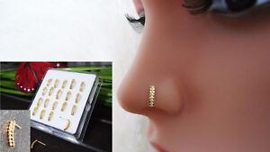 925 Silber Nasenpiercing Nasenstecker Nasenring Stecker Piercing Vergoldet Gold