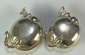 Pair of Old Antique Chinese Silver Fruit Form Hinged Boxes