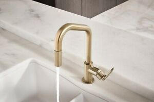 details about brizo 63064lf gl litze pull down faucet with angled spout luxe gold