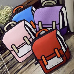 3D Jump Style 2D Drawing Cartoon Paper Bag Comic Backpack Messenger Bookbag New