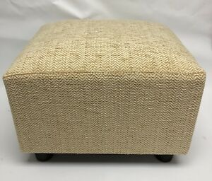 details about footstool pouffe small stool oyster cream herringbone chenille british made