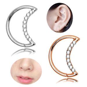 Rhinestone Moon Piercing Hoop Earrings Helix Ear Cartilage Tragus Heart Ring'