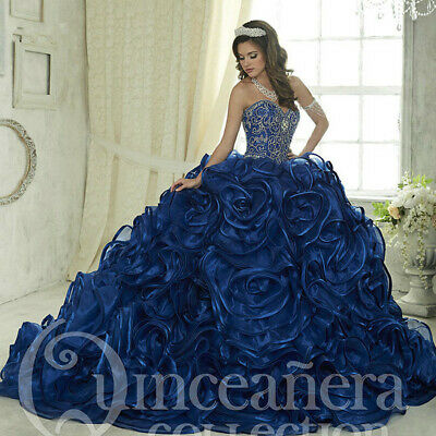 Luxury Blue Beaded Organza Ball Quinceanera Dress Sweet 15 Birthday Party Gown Ebay