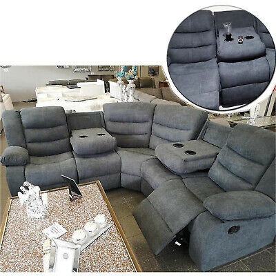 sorrento grey fabric 3 seater 2 seater couch double corner recliner sofa ebay