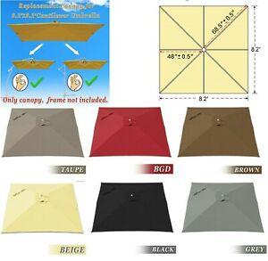 details about 8x8 ft square 8 rib cantilever hanging patio umbrella replacement canopy cover