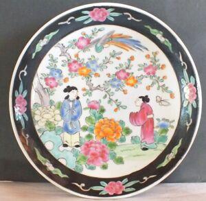 details sur assiette porcelaine chine ancienne blanc noir
