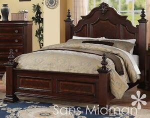 new! chanelle queen size bed set, 2 pc traditional cherry wood