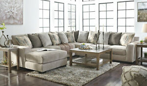 details about modern 4 pieces sectional living room gray chenille sofa couch chaise set ig0t
