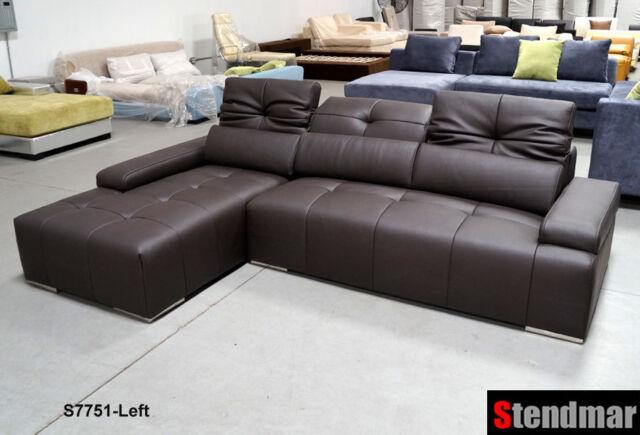 106 x 68 modern espresso genuine leather sectional sofa s7751