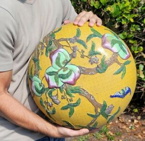 """Massive Antique Chinese Cloisonne Box with Bats and Peaches 16"""""""