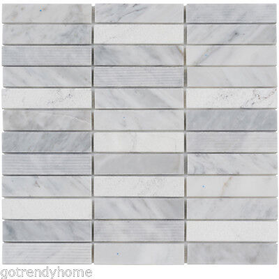 white carrara marble stone mosaic tile
