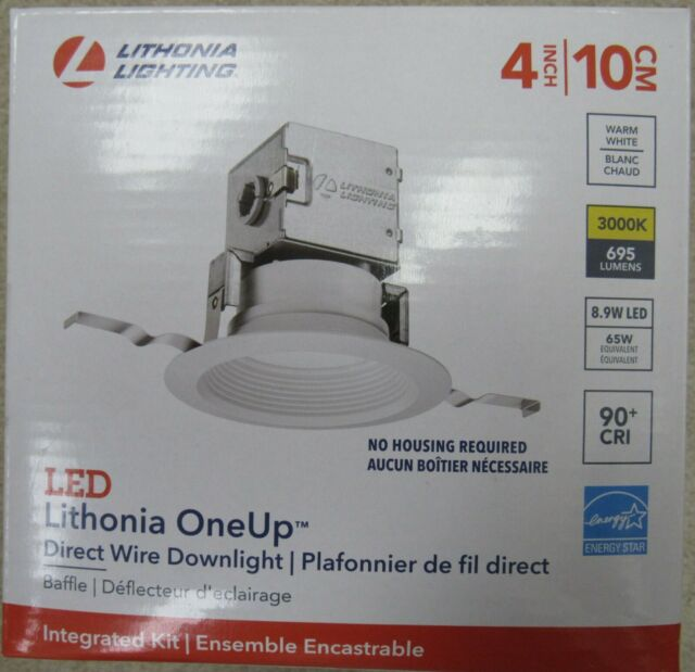 lithonia lighting oneup 4 in white round baffle led ceiling recessed light kit