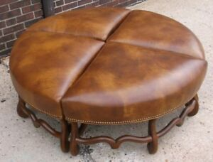 details about four section round brown leather ottoman
