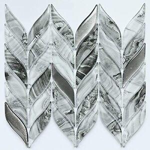 details about mosaic tile backsplash kitchen wall marble glass leaf shape glazed polished
