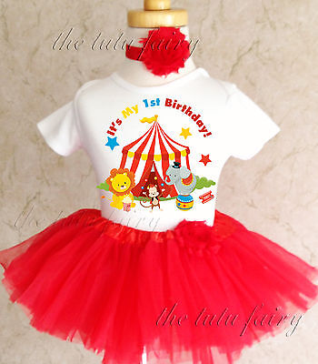 Circus Red Blue Yellow Baby Girl 1st First Birthday Tutu Outfit Shirt Set Ebay