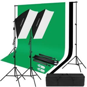 details sur kit eclairage studio photo video lumiere fond vert kit parapluies lampe softbox