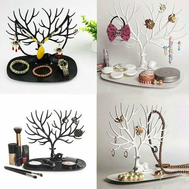 Jewelry Display Organizer Necklace Ring Earring Deer Tree Stand Holder Show Rack 9