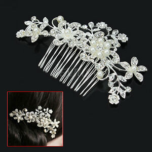 elegant silver bridal wedding hair b pearl crystal hair pin clip accessory ebay