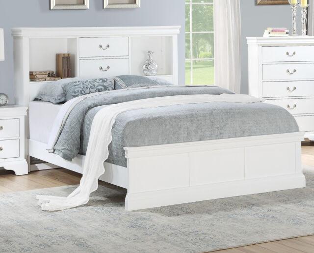 bedroom white solid pine wood est king size bed unique storage modern bedframe