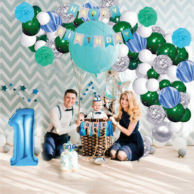 1st Birthday Boy Decorations Baby With Crown One Birthday Party Supplies Blue Ebay