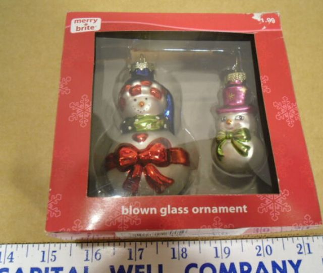Merry Brite Blown Glass Snowmen Miniature Christmas Ornaments New