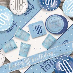 Blue Glitz 90th Birthday Party Supplies Decorations Confetti Strings Napkins Ebay