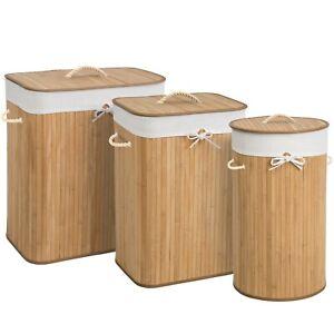 Panier A Linge Corbeille En Bambou Bac A Linge Pliable Naturel Ebay