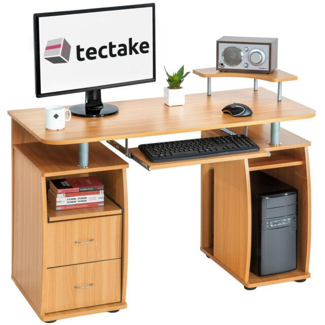 tectake 401667 bureau informatique en bois marron hetre
