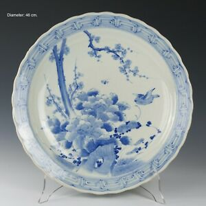 Nice large Japanese blue & white porcelain charger, peonies and bird, ca. 1900.