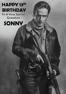 Personalised Birthday Card The Walking Dead Rick Grimes Any Name Age Relation Ebay