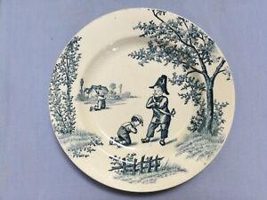 details sur ancienne assiette faience humoristique garde champetre terre de fer