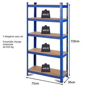details sur etagere modulable charge lourde metallique de rangement 5 tablettes 75x30x150cm