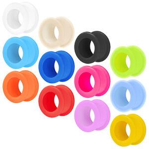Silikon Flesh Tunnel Plug Ear Ohr Tube Color Piercing Flexibel Extra Soft Weich