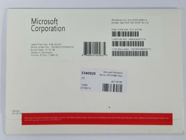 Microsoft Windows Server 2019 Standard 64bit 16 Core German Gunstig Kaufen Ebay