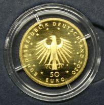 KI70) 50 EURO Gold 1/4 oz Unze 2020 Orchesterhorn (F), mit ECHTHEITSZERTIFIKAT