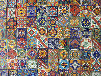 100 mixed designs mexican tile handmade talavera backsplash mosaic 2 x 2 ebay