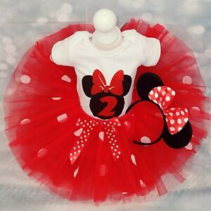 Baby Girl 2nd Birthday Minnie Mouse Outfit Tutu Cake Smash Party Dress Photo Bow Ebay