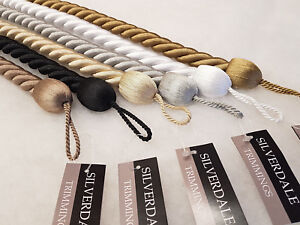 details about 2 medium rope curtain tiebacks 70cm long 2cm thick cable fabric tie backs ties