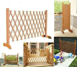 details about expanding portable fence wooden screen gate kid safety dog pet patio garden lawn