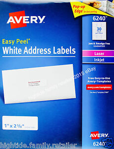 Details About Avery White Address Labels 6240 Easy Peel 1 X 2 5 8 In 1050 2100 Or 4200 Count