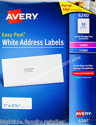 Avery White Address Labels 6240 Easy Peel 1 X 2 5 8 In 1050 2100 Or 4200 Count Ebay