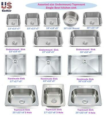 stainless steel topmount undermount single bowl kitchen sink various sizes ebay
