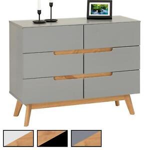 details sur commode style scandinave meuble d appoint avec 6 tiroirs en pin massif