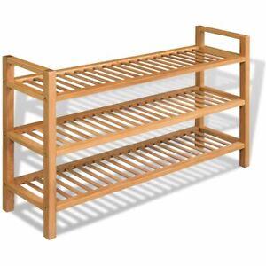 details sur vidaxl bois de chene massif etagere chaussures 3 etageres armoire de rangement
