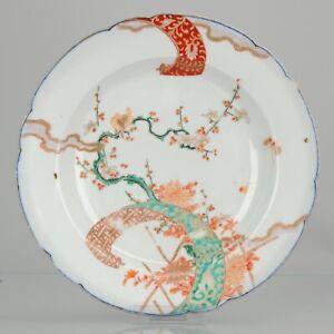 Antique Edo 18th / 19th C Japanese Porcelain Plate Arita Birds Prunus Ja...